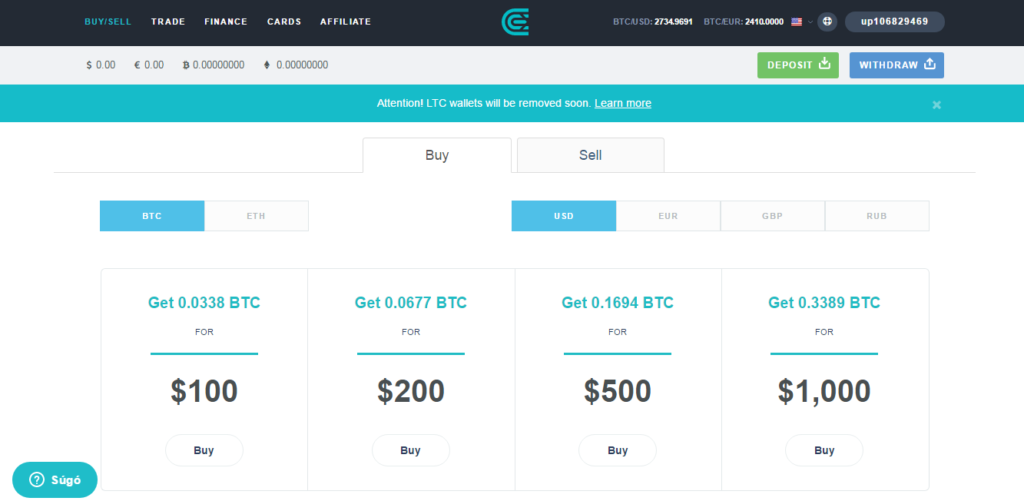 Cex.io dashboard