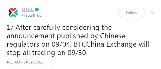 BTCC kínai üzletága bezár