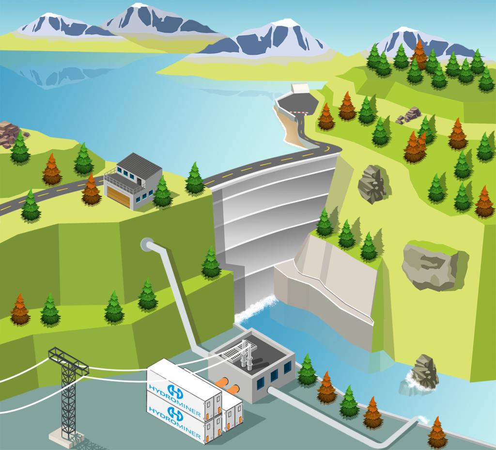 HydroMiner farm a vízerőmű mellett