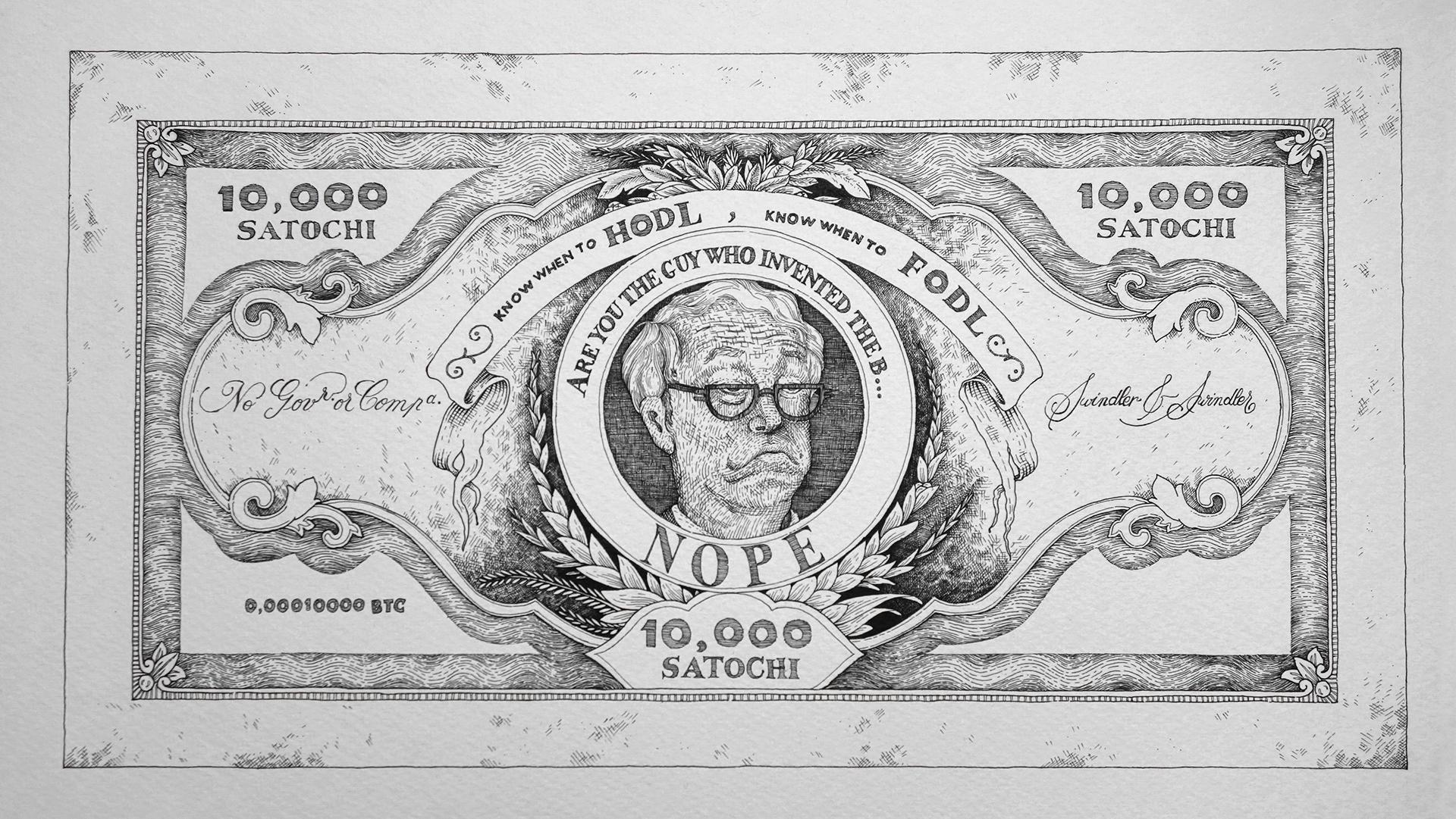 Bitcoin bankjegyek 10 000 szatosi