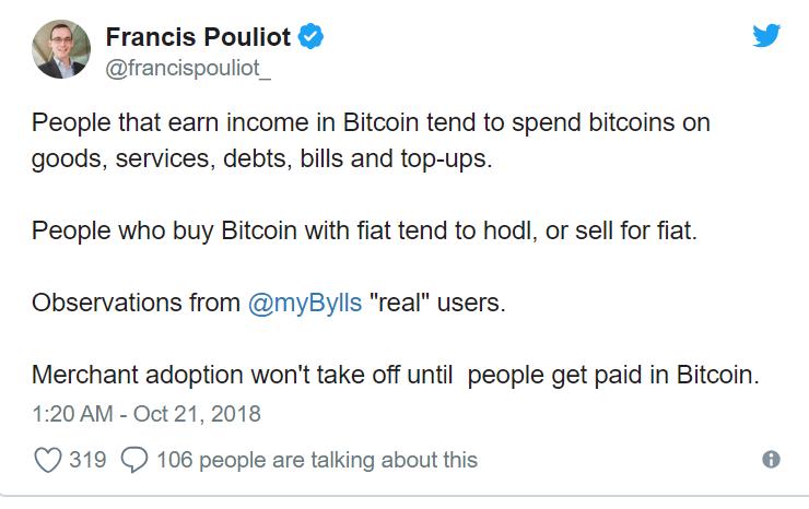 Mi lenne ha bitcoinban kapnád a fizetésed? Twitter kérdés a bitcoin státuszáról