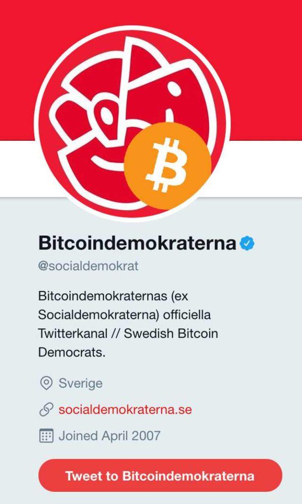 """""""Eltöröltük a svéd koronát, és helyette bevezettük a Bitcoint!"""" – olvasható a svéd szociáldemokrata párt Twitter oldalán"""