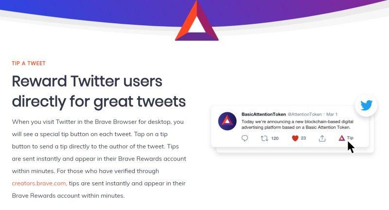 Már a Twitter is fogad Brave BAT borravalót