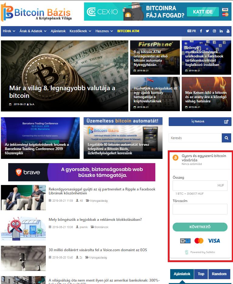 Bitcoin vásárlás a Bitcoin Bázison