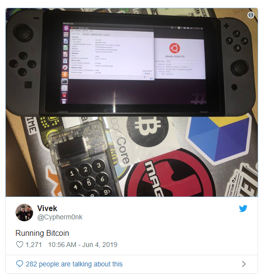 Nintendo Switch-en is fut a Bitcoin Core