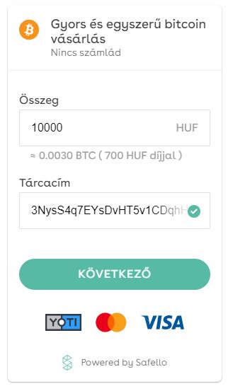 Gyors és egyszerű bitcoin vásárlás