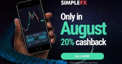 SimpleFX augusztusi 500$ pénzvisszatérítés - kereskedj 20%-kal alacsonyabb spreadekkel!