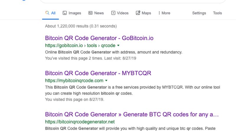 bitcoin QR-kód generáló átverés