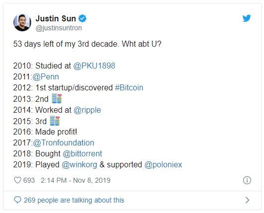 Justin Sun elmúlt tíz éve