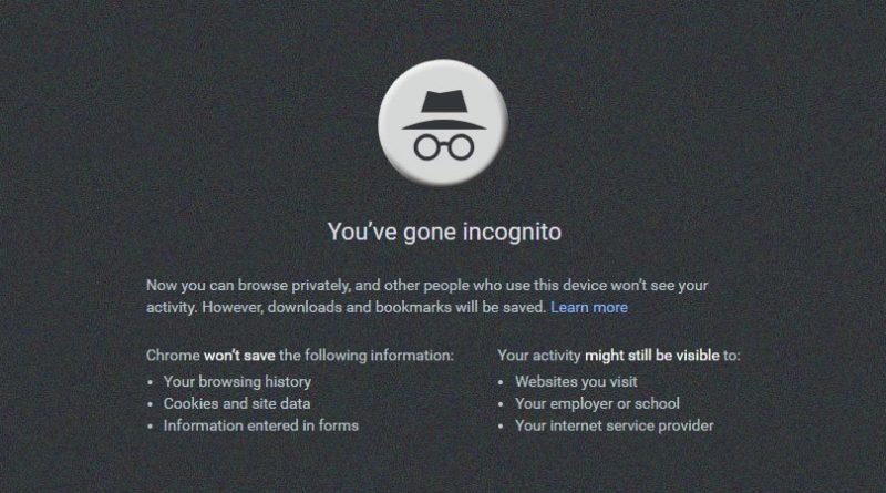 Google inkognitó mód