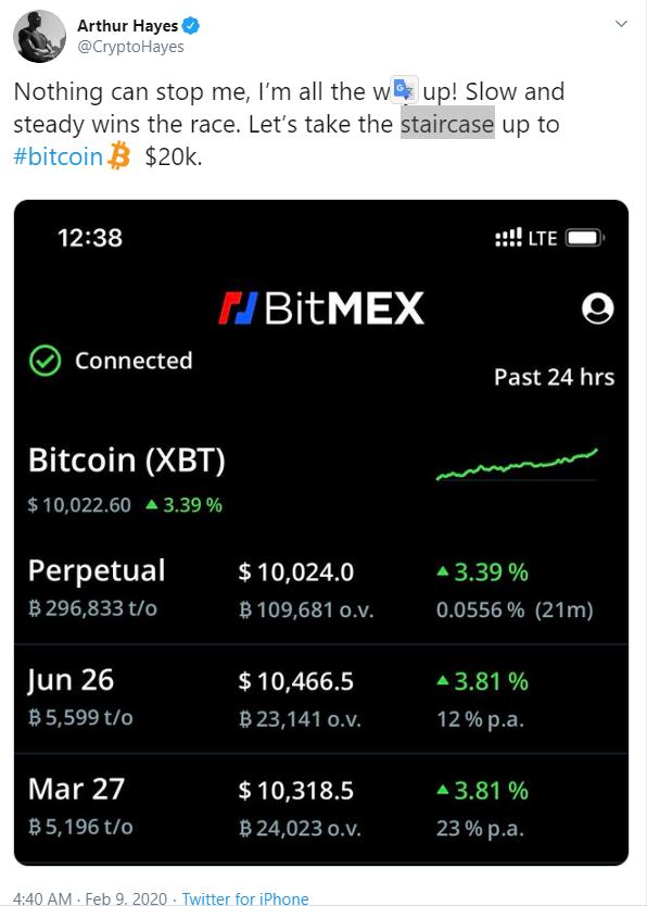 Hayes bitcoin jóslata Twitteren