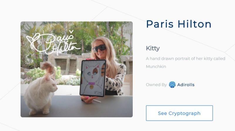 Paris Hilton Ethereum-alapú műalkotást árul 17 ezer dollárért – természetesen a macskájáról