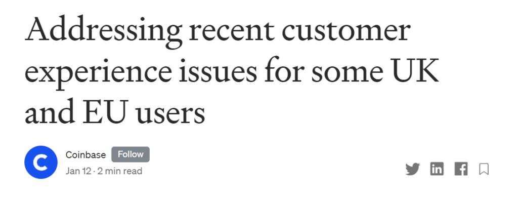 A Coinbase bocsánatot kért az európai és egyesült királyságbeli felhasználóktól a fiókok lezárása miatt