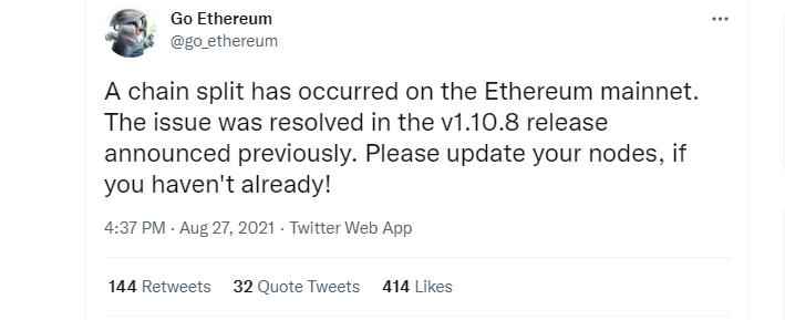 Ethereum split